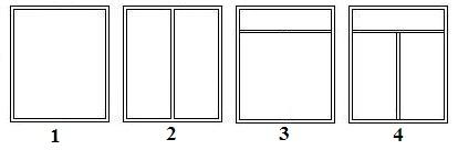 Okna PCV. Podział płaszczyzn słupkami i ślemionami.