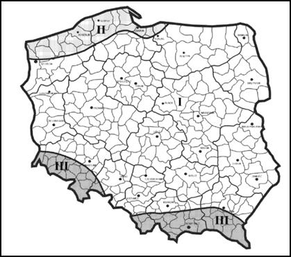 Strefy obciążenia wiatrem w Polsce
