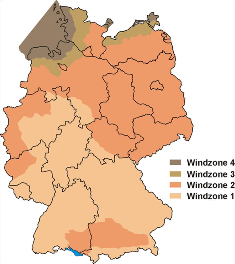 Strefy obciążenia wiatrem w Niemczech