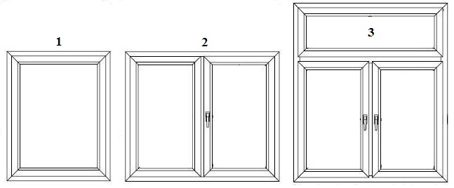 Okna PCV. Kombinacje prostokątów.