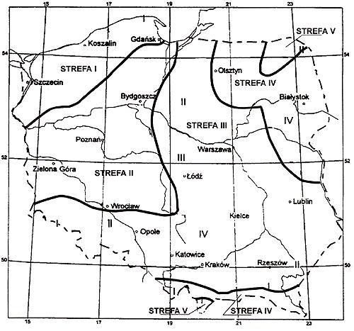 Mapa stref klimatycznych Polski