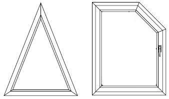 Okna PCV trójkątne i trapezoidalne.