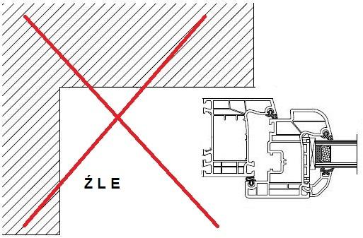 Błąd montażu okna w ościeży z szerokim węgarkiem zewnętrznym wynikający z braku elementów poszerzeń