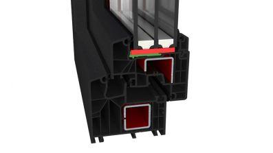 Okno PCV Ideal 8000 antracytowe trzyszybowe AdamS