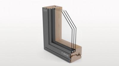 Aluron Gemini Quadrat CTS okno drewniano-aluminiowe