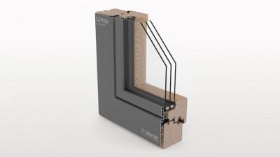 Aluron Gemini Quadrat FB okno drewniano-aluminiowe