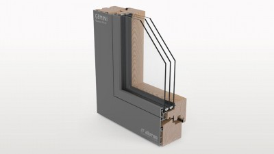 Aluron Gemini Quadrat FB SF okno drewniano-aluminiowe
