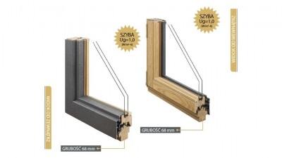 Doorsy System 68 okna drewniane z nakładką aluminiową