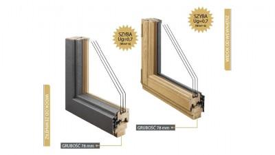 Doorsy System 78 okna drewniane z nakładką aluminiową