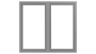 Okno drewniano-aluminiowe Drutex Duoline 68 - widok od zewnątrz (aluminium)
