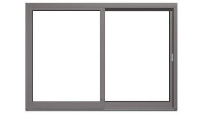 Drewniano-aluminiowe drzwi tarasowe podnoszono-przesuwne Drutex Duoline HS 68 - widok od zewnątrz (aluminium)