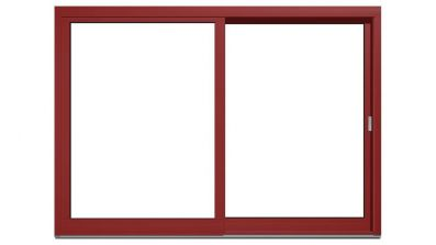 Drewniano-aluminiowe drzwi tarasowe podnoszono-przesuwne Drutex Duoline HS 78 - widok od zewnątrz (aluminium)
