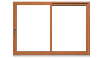 Drewniano-aluminiowe drzwi tarasowe podnoszono-przesuwne Drutex Duoline HS 78 - widok od środka (drewno)