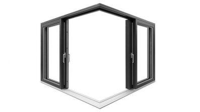 Narożne tarasowe drzwi unoszono-przesuwne Drutex IGLO HS w pozycji otwartej