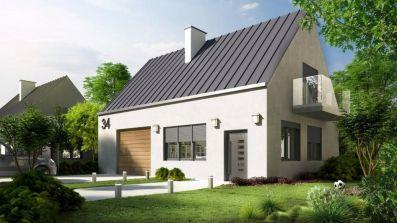 Nowoczesny dom wyposażony w okna aluminiowe Drutex MB-86 SI na profilu Aluprof