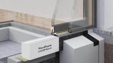 System WIMOUNT - montaż drzwi HST w ociepleniu budynku z wykorzystaniem poszerzenia podprogowego z materiału Hardfoam o wsp. λ = 0,039 (W/m*K)