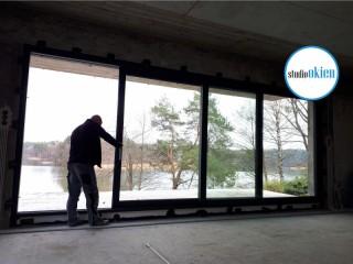 Gigantyczne okno podnoszono przesuwne HS z dwoma skrzydłami przesuwnymi! Super realizacja montażu okien aluminiowych!