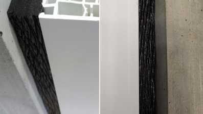 Połączenie okno - mur uszczelnione wielofunkcyjną taśmą rozprężną illbruck TP653 Trio X