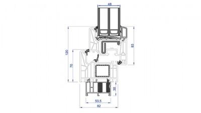 Jezierski Ultra Passive okno PCV rysunek techniczny
