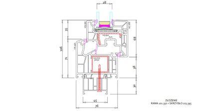 Okna Vetrex LUM`UP rysunek techniczny