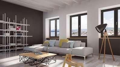 Pomieszczenie z oknami Oknoplast Koncept. Wizualizacja.