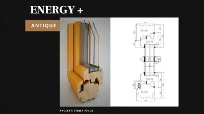 Pinus Energy+ Antique okno drewniane