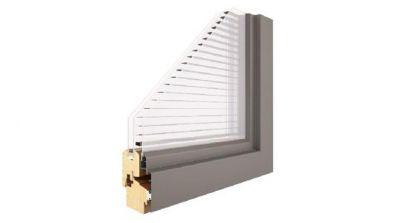 Pol-Skone 2+1 Duo okno drewniane z zintegrowaną żaluzją