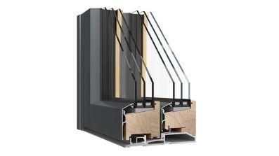 Sokółka Eco Line Alu HS drzwi przesuwne HST drewniano-aluminiowe przekrój konstrukcji