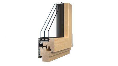 Sokółka Puro okno drewniano-aluminiowe przekrój