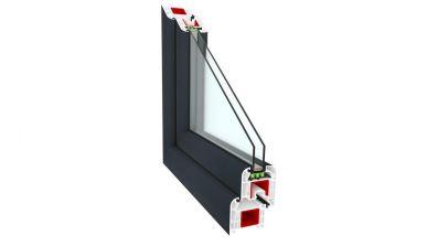 Okno PCV Sonarol Clasictherm w kolorze antracytowym