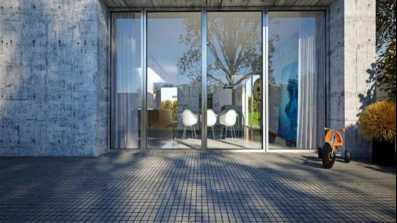 Srebrno-szare drzwi tarasowe