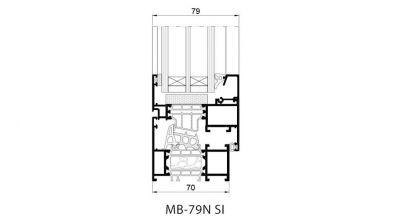 Team Plast MB-79N okno aluminiowe - przekrój, rysunek techniczny