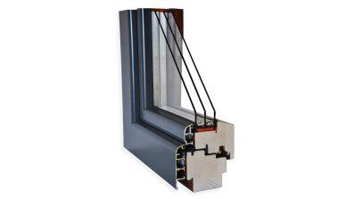 Wegiel Gemini Softline okno drewniano-aluminiowe