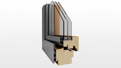 Okno drewniano-aluminiowe Witraż Duo Modern