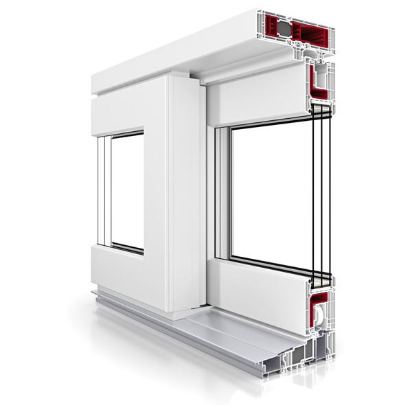 Przekrój poglądowy antywłamaniowych drzwi balkonowych przesuwnych Vetrex Slide 82 ProSafe