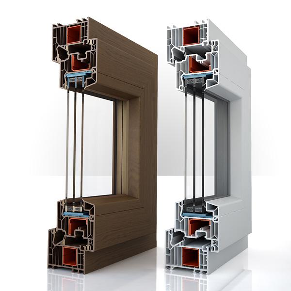 Okno antywłamaniowe Team Balance wyprodukowane przez Team-Plast. Przekrój poglądowy.